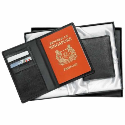 EG-107L-LA Leather Passport Holder and Business Card Holder Set