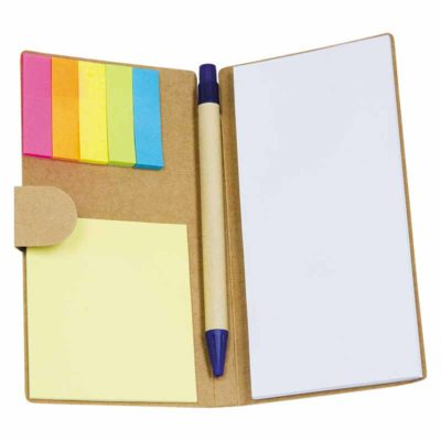 NS-132-MA Recycled Paper Notebook with Pen & Sticky Note in polybag